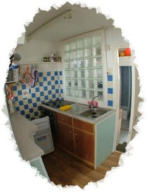 Chalet Pachuca Gwithian Kitchenette for self catering holidays in Cornwall