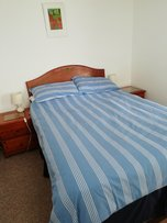Chalet Pachuca Gwithian bedroom. Near churchtown farm campsite, Cornwall